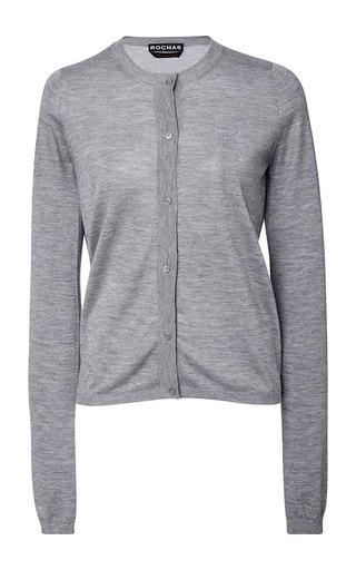 Medium rochas dark grey button up cardigan