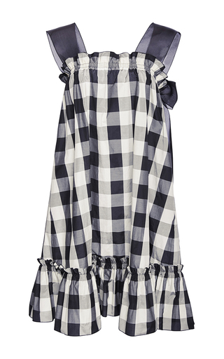 Organza Strap Gingham Dress With Ruffled Hem by ROCHAS Now Available on Moda Operandi