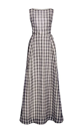 Gingham Floor Length Gown With Tulle Back by ROCHAS Now Available on Moda Operandi