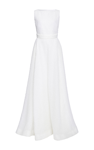 Medium rochas ivory gloss a line gown
