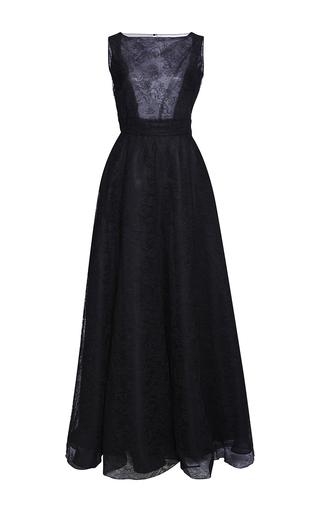 Medium rochas black sleeveless lace a line gown