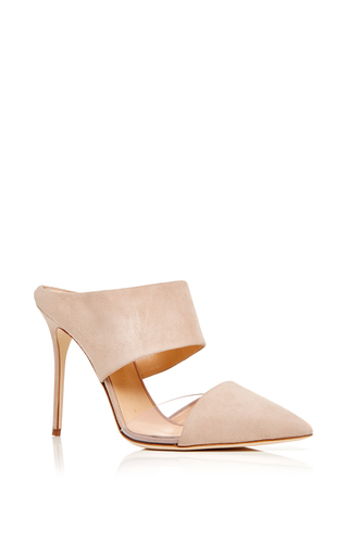 Lucrezia Calf Leather Pointed Open Back Heels by GIUSEPPE ZANOTTI Now Available on Moda Operandi
