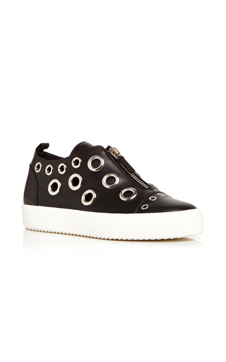 Medium giuseppe zanotti black may london calf leather sneakers with grommets