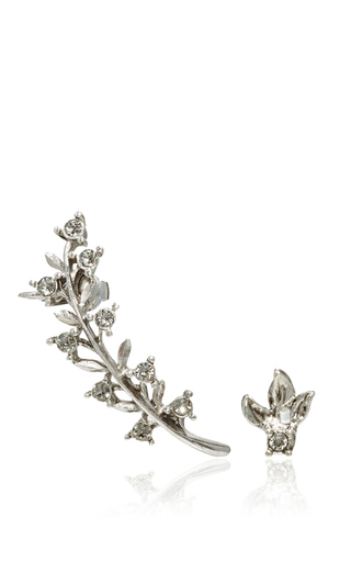 Silver Diamond Leaf Ear Cuff And Stud Set by OSCAR DE LA RENTA Now Available on Moda Operandi