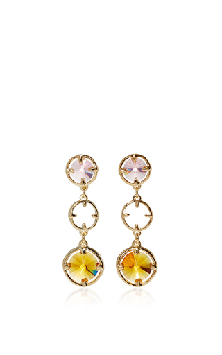 Orange Crystal Circle Drop Earrings  by OSCAR DE LA RENTA Now Available on Moda Operandi