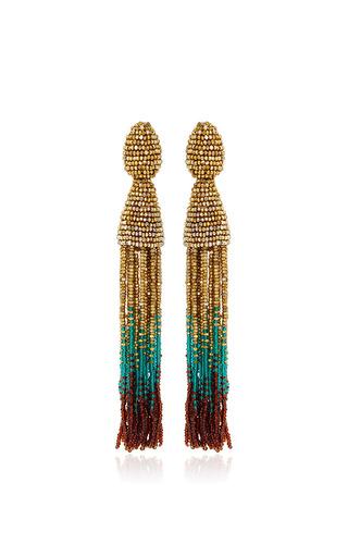 Medium oscar de la renta multi gold teal and brown tassel clip earrings