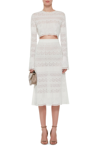 Wool And Silk Pointelle Lace Crop Pullover by THAKOON Now Available on Moda Operandi
