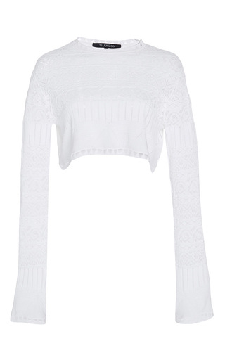 Medium thakoon white fine pointelle lace crop pullover