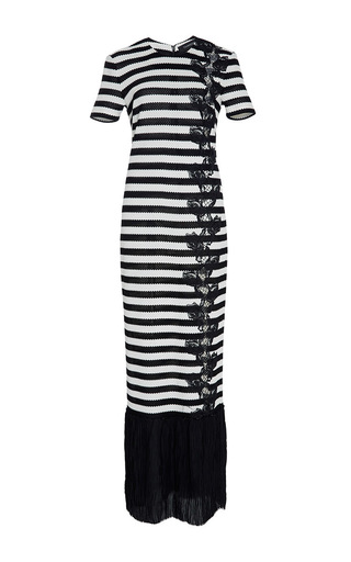 Medium thakoon black stripe pique jersey pleated maxi dress