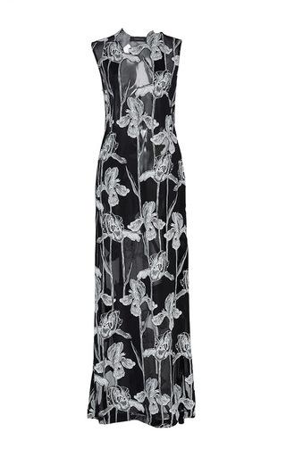 Medium thakoon black georgette devore jersey maxi gown