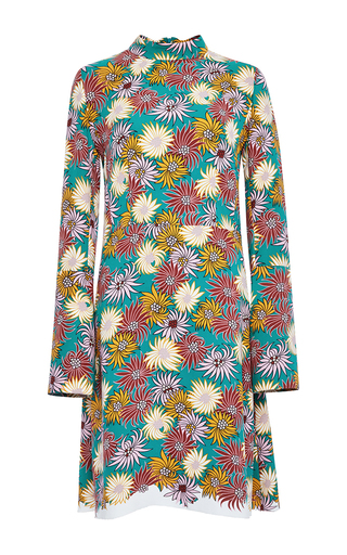 Long Sleeved Floral Printed Georgette Dress by MARNI Now Available on Moda Operandi