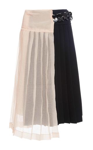 Medium marni light grey bicolor mid length skirt with sheer layering