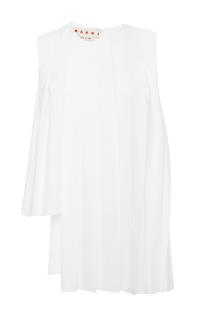 c25e3e79eca Cotton Poplin Asymmetrical Pleated Sleeveless Top by Marni