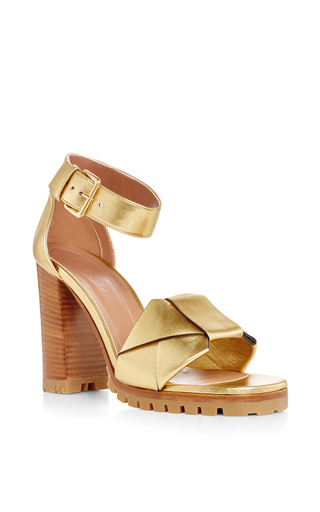 Medium marni tan gold leather sandals with wooden heel