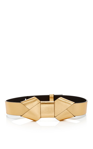 Medium marni gold gold lamb leather belt with bow
