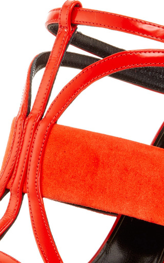 Persimmon Patent Leather And Suede Lonni Sandal by OSCAR DE LA RENTA Now Available on Moda Operandi