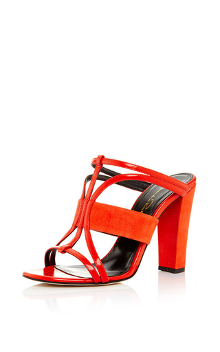Medium oscar de la renta red persimmon patent leather and suede lonni sandal