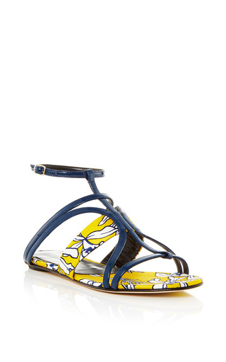 Medium oscar de la renta yellow patent leather and mikado lexina sandal