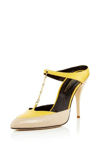 Medium oscar de la renta nude bisque and marigold elaphe nanse heel