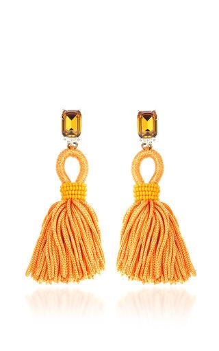 Medium oscar de la renta orange short silk loop tassel earrings in marine blue