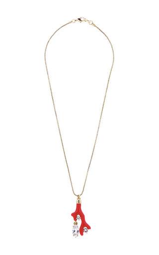 Medium oscar de la renta red persimmon coral shaped charm necklace
