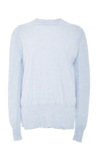 Medium rosetta getty light blue baby blue fine merino crew neck slit sweater