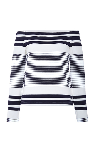 Off The Shoulder Sailor Striped Top by ROSETTA GETTY Now Available on Moda Operandi