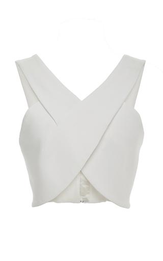 Medium rosetta getty ivory cotton scuba wrapped corset top