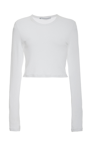 Medium rosetta getty white ribbed viscose jersey cropped long sleeve crew