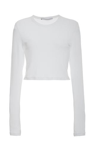 Medium rosetta getty white ribbed viscose jersey cropped long sleeve crew