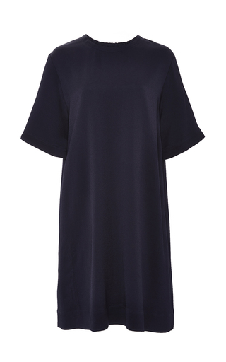 Medium rosetta getty navy hammered satin cocoon t shirt dress