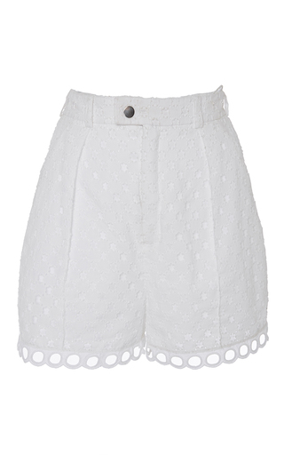 High Waisted Cotton Eyelet Shorts by CARVEN Now Available on Moda Operandi