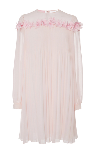 Pink Pleated Georgette Dress With Floral Appliqué by GIAMBA Now Available on Moda Operandi