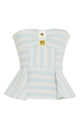 Striped Cotton Blend Calypso Bustier Top  by PETER PILOTTO Now Available on Moda Operandi