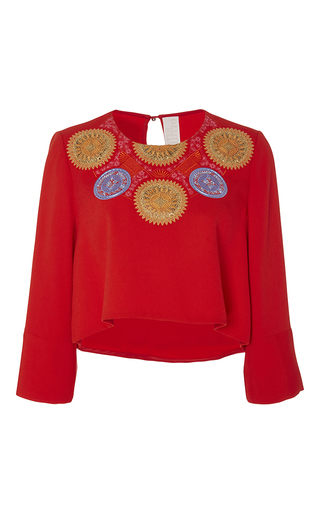Red Embroidered Athena Cropped Blouse by PETER PILOTTO Now Available on Moda Operandi