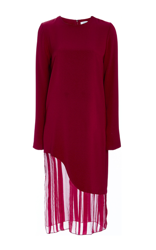 Medium prabal gurung burgundy satin striped silk chiffon dress