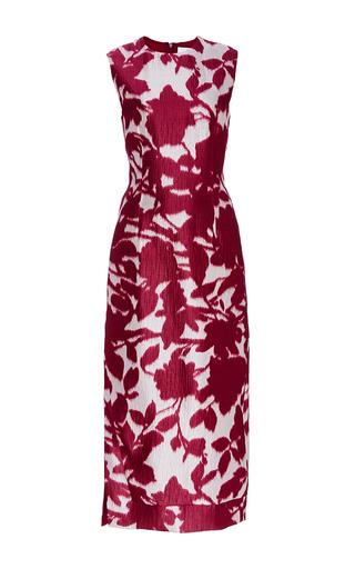 Medium prabal gurung burgundy silk cotton floral shadow print dress