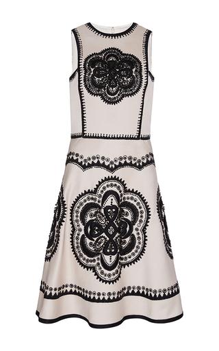 Medium naeem khan ivory medallion embroidered silk pique dress with flared skirt