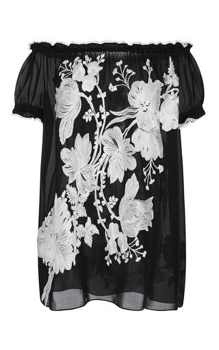 Medium naeem khan black floral bouquet embroidered peasant blouse