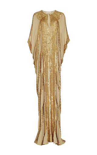 Medium naeem khan tan metallic linear beaded georgette caftan