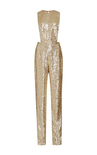 Medium naeem khan gold sequined jumpsuit with jewel neckline