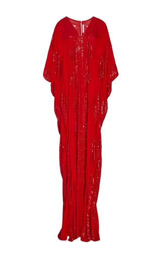 Medium naeem khan red diamond patterned sequin v neck caftan