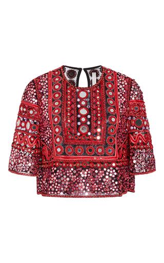 Medium naeem khan red mirror beaded top