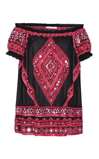 Medium naeem khan red mirror beaded peasant blouse