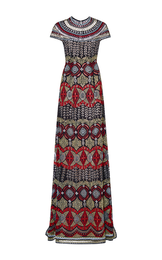 Medium naeem khan red tribal embroidered eyelet gown