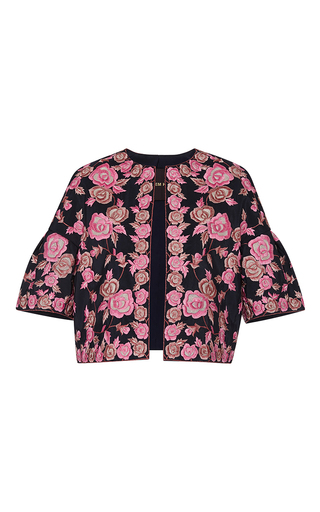 Medium naeem khan navy rose embroidered faille jacket