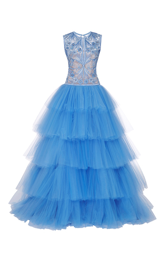 Medium naeem khan blue tiered tulle gown with floral scroll embroidered bodice