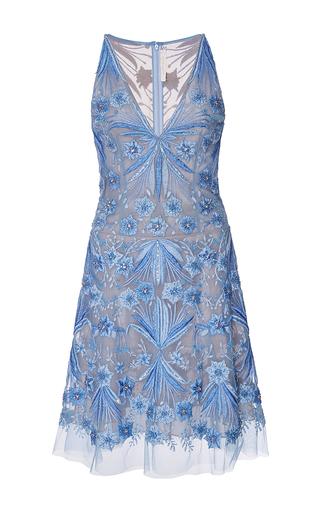 Medium naeem khan blue floral scroll embroidered v neck cocktail dress