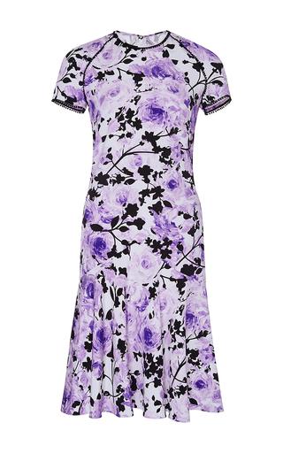 Medium naeem khan purple floral print silk crepe dress
