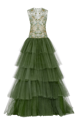 Medium naeem khan green tiered tulle gown with metallic embroidered bodice